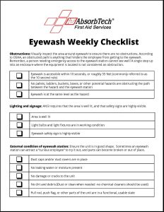 Eyewash Weekly Maintenance Station Checklist