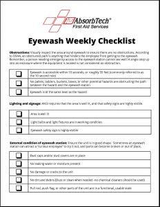 Eyewash Station Weekly Checklist Itu Absorbtech First Aid